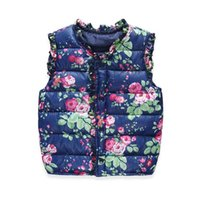 Wholesale Wholesale Waistcoats - High Quality 2016 Autumn Spring Baby Girl Waistcoat Sweet Floral Down Cotton Warm Girls Vest Kids Jacket Children Clothes 3-7Y