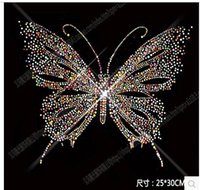 Wholesale Hot Fix Designs - 25*30cm Mixed color butterfly pattern HOT patterns clothing accessories Hot Fix Rhinestones motif Heat Transfer on Design Iron On clothes