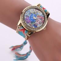 modèles de bracelet à la main achat en gros de-15% 16 Modèles GENÈVE À La Main Armure Wrap Bracelet Montres Femmes Robe Coloré Quartz Casual Tissé À La Main Montre-Bracelet Parfait Cadeau