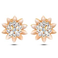 Wholesale Flowers Free Trade - EuropeandAmericafashion new 2016 foreign trade hot selling full crystal flower opal studs earrings real gold plated allergy free earrings