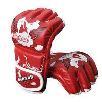 Wholesale Brand New Kicks - New Brand Sparring MMA Muay Thai Training Kick Fight Boxing Gloves taekwondo gloves (black red)