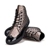 Wholesale Personalized Shoes Gold - Men Fashion Casual Shoes High-top Imitation crocodile skin Leather Hip-hop sports leisure shoes Bullock Personalized shoes