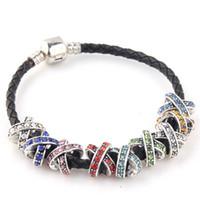 bracelet pandora croix achat en gros de-En gros 50pcs mixte style style 925 perles en argent charmes plates perles de cristal strass pour Pandora bracelets bijoux fins