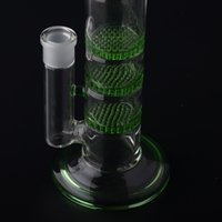 Crazzzy Price 38mm Tubo 3 Green Honey Comb Perc Disco Tubo de água Glass Bong Com carga grátis Matching Dry Bowl BestGlass S03