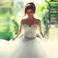 Wholesale Long Sleeve Rhinestones Sexy Dresses - Sexy Wedding Dresses Illusion Long Sleeves Wedding Gowns Lace Up Sheer Neck Rhinestone Pearls Sweetheart Bridal Dresses