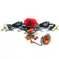 Wholesale Vintage Red Rose Bracelet - New Vintage Black Lace Bracelets For Women Fine Red Rose Metal Bracelets Gothic Style Handmade Lace Bracelets With Finger Ring