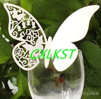 Wholesale Wedding Brand Names - Glass Name Label Place Cards in Butterfly Design, White Wedding Glass Card Good Quality Brand New