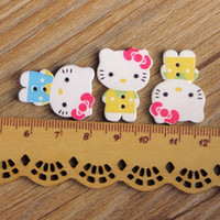Wholesale Sew Assorted Button - Wholesale-Assorted Mix 150pcs white background Print natural Wooden Two Hole buttons for Craft Scrapbook botones Sewing accessories