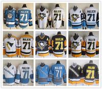 malkin siyah buz mayo toptan satış-Ucuz Pittsburgh Penguins # 71 Evgeni Malkin Vintage CCM Altın Sarı Siyah Beyaz Buz Hokeyi Formalar Tüm Dikişli Ücretsiz Kargo