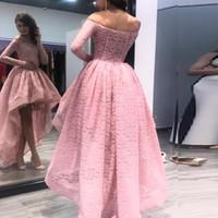 ingrosso abito basso basso ciao nero-I più nuovi 2019 Sexy Hi Low Prom Dresses Blush Pink Black Vintage Lace Party Gowns Off the Shoulder Maniche lunghe abiti da sera formale