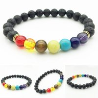 Wholesale Natural Gemstone Agate - 7 Chakra Natural Gemstone Bracelet Colorful Crystal Lava Rock Hand Beaded Stretch Aroma Bracelets Men Women Yoga Meditation Prayer B917S