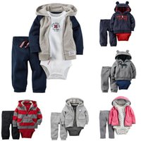 Wholesale Leopard Boys Hooded Jacket - cartoon striped boys girls clothing sets bodysuits children One-Pieces baby jumpsuit + child Hooded Zip-up Jacket+ kids Joggers trousers