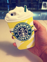 Wholesale Starbucks 4s - HOT Cartoon Starbucks Soft Silicon Rubber Material Case Cover for iPhone 4 4s 5 5s 6 6s Plus