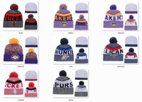 Wholesale Knitted Cotton Beanie - New Beanies 2017 Hot Knit Baseketball Beanie Sport Knit Team Pom Pom Knit Hats Baseball Football Beanies Hat Mix Match Order All Caps