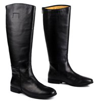 Wholesale Knee High Mens Black Boots - Large size EUR45 black over the knee mens boots genuine leather motorcycle boots fashion mens winter boots casual shoes