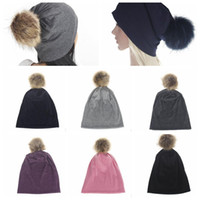 Wholesale hair ball cap - Unisex Winter Knit Ski Cap Slouch Hat Beanie Hip-Hop Warm Hat Fashion Hair Ball Cap Baggy Bobble Hat KKA2898