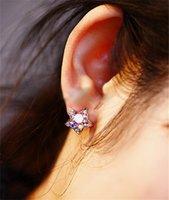 Wholesale Rainbow Crystal Dangle Earrings - Fashion Vintage Rhinestone Crystal Star Stud Rainbow CZ diamonds shine Earrings for women jewelry