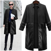Wholesale Women Stylish Black Trench - Europe and the United States XL--5XL Plus size Stylish Leather Pocket Long Women Jackets Stand Neck Long Sleeve Fashion Long Trench Coats