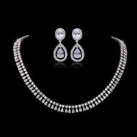 ingrosso collana di diamanti nuziali di nozze-Elegante! Anniversario di lusso da sposa in argento collana orecchini set di gioielli per le donne cubic zirconia diamante gioielli da sposa di fidanzamento insieme J4