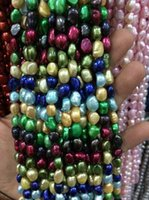 Wholesale Beautiful Culture - free shipping New natural beautiful Jewelry AA wholesale Baroque 10 strands 8-9mm Multi-Coloured Freshwater Cultured Pearl Loose Beads 13.5