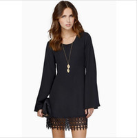 Wholesale Nice Chiffon Long Dress - Europe Station Nice Spring Women Clothes Sexy Lace Dress Round Neck Loose Long Flare Sleeve Tassel Mini Chiffon Casual Dresses for Womens