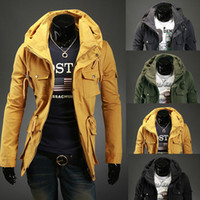 Wholesale Men Sexy Coats - New Autumn Winter Style Slim Sexy Top Designed Mens Jacket Coat Mens Special Hoodie Jacket Coat Cotton Warm Plus Size 4 Colors