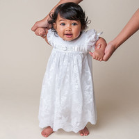 Wholesale Cheap Boys Christening Gowns - 2016 Cheap Little Baby Girl and Boys Baptism Dresses Christening Gowns Custom Made Ankle-length Short Sleeve Lace Formal Party Dress