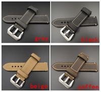 Wholesale crazy bracelets - Wholesale-1PCS 20MM 22MM 24MM 26MM genuine leather Crazy horse leather Watch band watch strap man watch straps black coffee grey -WB12075