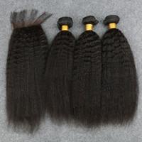 yaki weben verschlüsse großhandel-Peruanische Jungfrau Afro verworrene gerade grobe Yaki menschliche Haarwebart mit Verschluss italienische leichte Yaky Haarbündel mit Spitze Verschlüsse