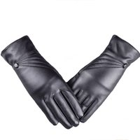 Wholesale leather cashmere touch screen gloves - Wholesale- 1 Pair High Quality Hot Women Luxurious Elegant PU Leather Winter Driving Warm Gloves Cashmere Outdoor Touch Screen Gloves Black
