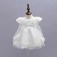 Wholesale White Dress Baptism Party - Retail 2016 New Baby Girl Baptism Christening Easter Gown Dress Embroidery Shwal Cap Formal Toddler Party Dresses 3PCS Set 1775