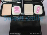 Wholesale Double Perfection Compact - Hot Sale DOUBLE Perfection Compact Powder Face Makeup 2 Different Colors 15g Brighten Long-lasting Free shipping