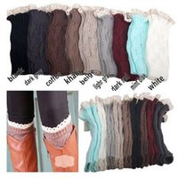 Wholesale Ladies White Leggings Wholesale - Wholesale-Women Lady Winter Knitted Crochet Socks Leg Boots Warmer Cover Leggings Free shipping