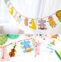 15Pcs / Pack 2M Happy Family Baby Shower Cartoon Animal Garland Striped Paper Flags Banner Decor Birthday Party Supplies For kids
