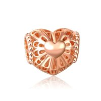 Wholesale Hollow Charm Spacer - Rose Gold Charm Beads fit Snake Chain Bracelets Jewelry hollow heart beads Big Hole European Spacer Bead Fit Pandora Chamilia Biagi charm