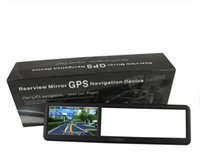 Wholesale Bluetooth Av Mp4 - 4.3 Inch GPS Rearview Mirror with bluetooth AV IN 4GB load 3D MAP