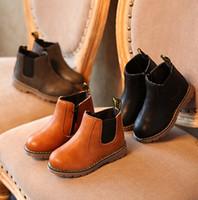 mikrofiber elbise ayakkabıları toptan satış-Çocuk Sonbahar Bebek Ayakkabıları Çocuk Elbise Çizmeler PU Deri Kız erkek Moda Martin Çizmeler bebek Mikrofiber Deri Çizmeler
