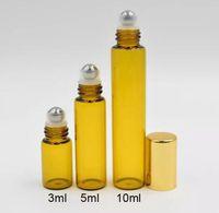 Wholesale amber roll perfume bottles resale online - Refillable Amber ml ml ml Roll On fragrance Perfume Glass Bottles Essential Oil Bottle Steel Metal Roller ball in stock by DHL Free