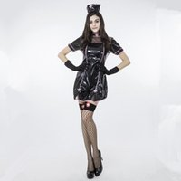Wholesale Costumes Role Nurse - New Black Faux Leather Nurse Costumes Stage Show Role Play Fashion Mini Dresses Women Clothing Set Hollow Out Halloween Cosplay