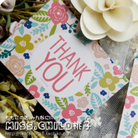 Wholesale Tracking Paper Wholesale - 50pcs lot Fresh Flowers THANK YOU Paper Card Wreath Of Rose Gift Decoration Thank you Card Message Rewards Card BZ152 <$18 no tracking