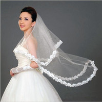 Wholesale hot veils for sale - Group buy Romantic Hot Selling Cheap Bridal Veils for Wedding Two Layers with Lace Appliques Tulle wedding veil In Stock Fast Ship White Ivoryr