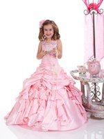 Wholesale Drop Waist Pageant Dresses - 2016 New Girl's Pageant Dresses Pink Halter Neckline Dropped Waist Taffeta Ball Gown Birthday Party Kids Flower Dresses