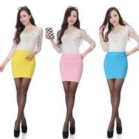 Wholesale women pencil skirt white color - Candy Color pencil skirt Autumn high waist slim mini women skirt Casual Summer bodycon short skirts