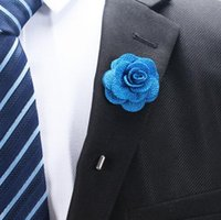 Wholesale men wedding flower accessories - Hot Lapel Flower Man Woman Camellia Handmade Boutonniere Stick Brooch Pin Men's Accessories in 19 Colors