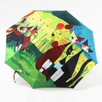 ingrosso pittura di pioggia astratta-0701 pittura a olio cat modello sun rain Umbrella pioggia donne 3 pieghevole ispessimento Anti UV moda vendita calda arte astratta