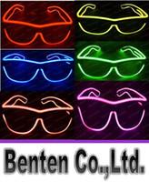 Wholesale Sunglasses Costume Wholesale - Simple el glasses El Wire Fashion Neon LED Light Glow Sun Glasses Rave Costume Party DJ Bright SunGlasses LLFA