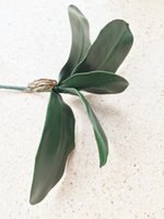 Wholesale Artificial Orchid Arrangement - Fake Orchid Leaf Bunch Artificial 5 Leafs Greenery 28Cm For Orchids Arrangement Set Decorative Flower Part