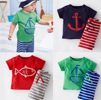 Wholesale Babys Summer Shorts - PrettyBaby 2016 Kids girls boys cotton short sleeve t shirts stripe Shorts pants sets Babys Boys anchor Pirate ships cartoon Sport suits