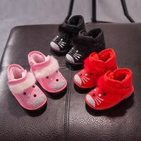 Wholesale Girls Red Boots Size 12 - 2017 fashion cartoon cat winter little girls boots light ups ankle short thick warm snow boots shoes children black red pink US size 8.5-12