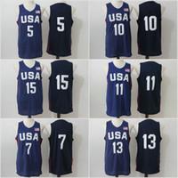 Wholesale Usa Olympic Basketball - 2016 Mens USA Basketball Jersey #15 #10 #5 #13 #11 #7 Player Cheap Basketball Jerseys USA Olympic Basketball Jersey Blue All Stitched